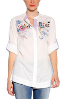 2013 spain brand women 100% cotton floral embroidery desigual shirt 30C2214  xs s m l xl free shipping