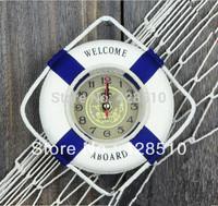 Newest Home Decoration Clock Mediterranean Style Lifebuoy Mini Wall Clocks Free Shipping