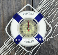Newest Home Decoration Clock Mediterranean Style Lifebuoy Mini Wall Clocks Free Shipping
