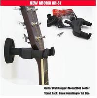 Aroma AH-81Guitar Hanger/Wall Hangers/Holders/Racks for Acoustic Electric Classical Guitar,Bass, Violin, Ukulele