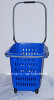 wholesale price shopping basket for supermarket/stainless steel arm and high quality plastic