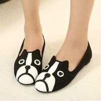 2013 Fashion personality cat dog shoes cartoon shoes casual flat bottom velvet low single shoes flat heel female free shipping