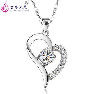 Free Shipping 2013 New Classic 925 Sterling Silver Fashion Wild Romantic Style Heart-Shaped Crystal Pendant Jewelry For Women