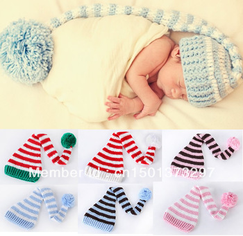Free Shipping  Wholesale 1 Piece Cotton Newborn Infant Baby Boy Girl Unisex Christmas Xmas Hat Beanie Cap Santa Crochet Striped