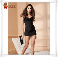 Black office wear corset busiter with stripe +mini skirt+G-string Sets -2XL Factory fashion model with good quality