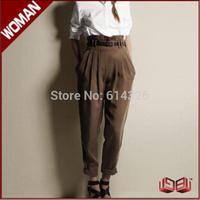 New Arrival Hot Sale Fashion Casual Women Pants 2014 Autumn Winter Harem Pants Elegant Ruffles High Waist Women Trousers