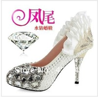 2013 Quality Assurance Women's Luxury Diamond Crystal Shoes Wedding Shoes High Heel Bridal Wedding Shoes Red&White.
