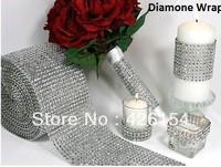 "New Popular 10 Yard X4.75""  inch Diamond Mesh Rhinestone Ribbon Crystal Wrap For Wedding Party Decor one roll wholesale"