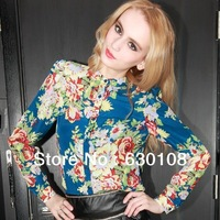 2014 New Hot Spring Fashion Women Blouse Clothes Casual Slim Plus size Printed chiffon sexy long-sleeved shirt shoulder pads