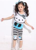 Free shipping 2014 set girls clothing summer short-sleeve Chiffon Ball Gown hello kitty cotton sportswear Wholesale 11109