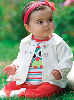 Retail 2014 New arrival  baby girl autumn clothing sets (coat+Owl T-shirt + pants) ,baby & kids clothes set