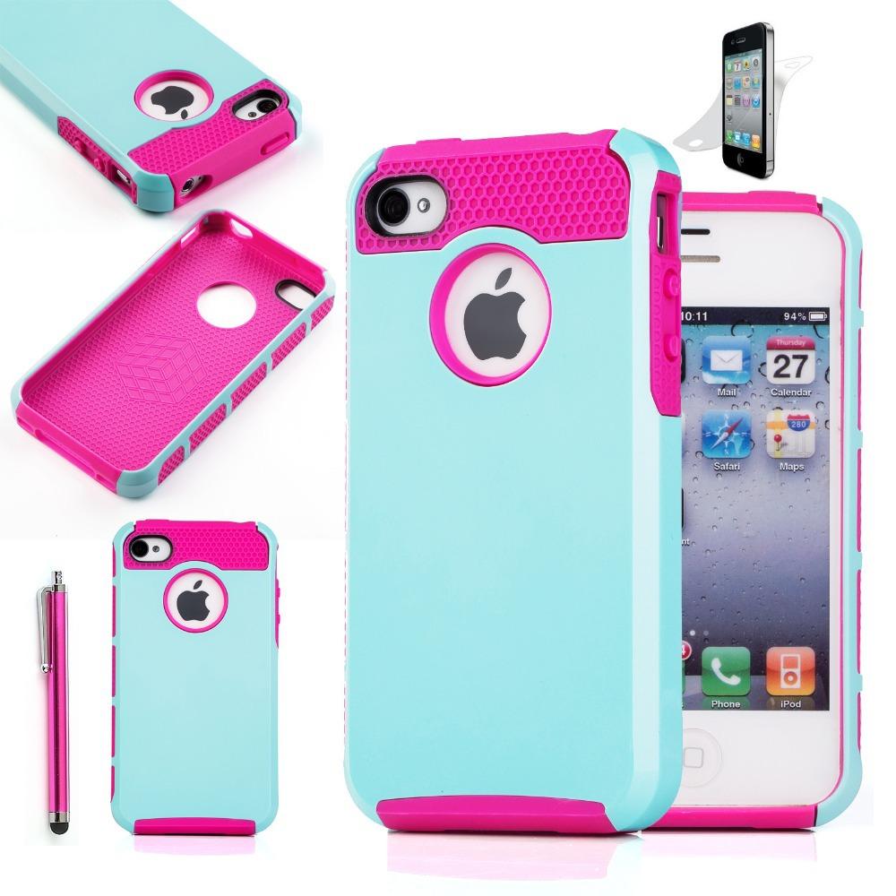 Case Design silicone phone cases : hybride en caoutchouc robuste combo matte dur housse pour iphone 4 ...