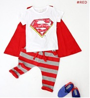 New 2013 autumn summer children's clothing set superman casual sport baby cotton outwear boys girls clothes  free shipping