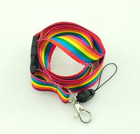"Wholesale ""Rainbow stripes"" Lanyard Keychain Necklace Cell Phone Holder ID badge holder neck straps 12pcs/lot Free shipping"