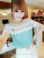 free shipping fashion brand new lace chiffon patchwork blouse sweet  lace short-sleeve chiffon shirt for women