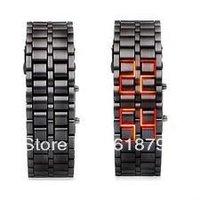 Women Lava Black Stainless Steel Lava LED Watch fashion watch Creative Watch Bracelet Free shipping