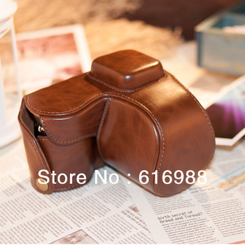 Wholesale! camera bag imitation leather case for samsung NX2000 (20-50mm lens) camera case bag + strap white/pink/coffee/black