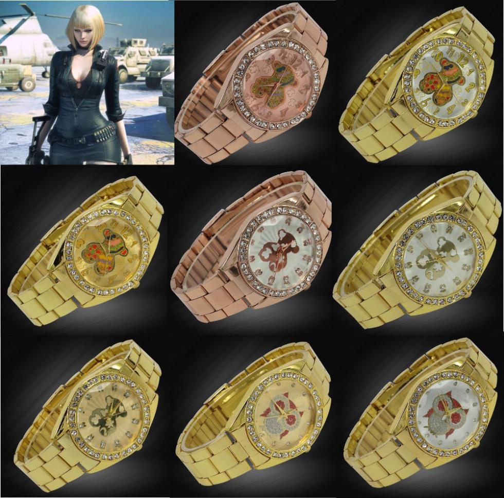 Famoso marchio di moda in acciaio metal band gufo& orso orologio da polso bracciale per gli uomini e le donne reinstone regalo di cristallo orologi vestito