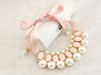 Christmas gifts Hot sale sweet beautiful colar necklaces for women ribbon pearl statement necklace green and pink color