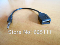 "FreeShipping 3.5mm 1/8 1/8"" aux Male audio to USB 2.0 A Female converter adapter Charge Cable"