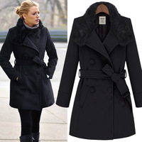 Lowest price wholesale women fur-nylon trench coat,slim trench coat with 2colors Free shipping