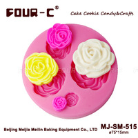 4 hole rose flower Arylic Resin Flower silicone mold,fondant molds,sugar craft tools,chocolate mould,soap candle molds for cakes
