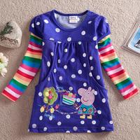 2014 new girls T shirts, 5pcs/lot wholesale Free shipping, Peppa Pig T shirt, purple/blue, long sleeve, 100% cotton, girl
