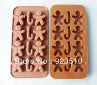 Gingerbread Man Christmas tree stick silicone jelly chocolate cake mold free shipping