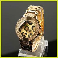 Famous Brand Luxury Crystal Gold Silver Steel Leopard Quartz Wrist Watch for Women Ladies /w Logo Free Shipping+