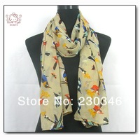 Guaranteed 100% Animal Style Scarf birds design Polyester Scarf Wholesale 2013 Fashion Woman scarves free shipping70*180CM