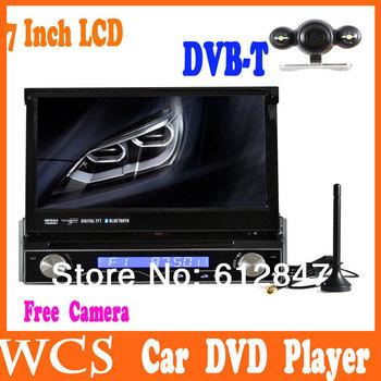 7' Universal 1 Din Car DVD Player, Bluetooth Radio Audio  For JVC Ford,Hyundai Free Camera+ Digital TV DVB-T+GPS Car Stereo