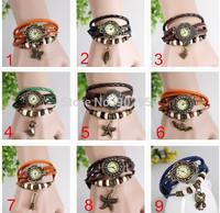 Big promtion,100pcs/lot New Arrivals Genuine Leather Hand Knit Vintage Leaf Pendant bracelet watches Mix 6 New Charms 9 Colors