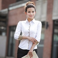 2014 leopard cuff long sleeve blouses shirts women tops slim OL working dress graceful white black ruffle sheer bow fashion xxl