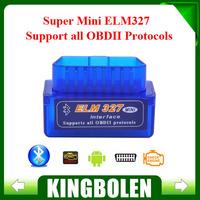 2014 Top-Rated New Super Mini ELM327 Bluetooth Interface V2.1 OBD2 II Car Auto Diagnostic Tool Mini ELM 327 in stock