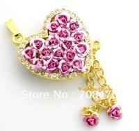 Love Heart Red Flowers USB Drive Memory Flash 1GB 2GB 4GB 8GB 16GB 32GB Genuine Pink