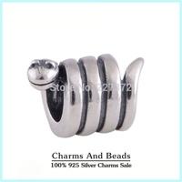 925 Sterling Silver Twist Snake Charm Thread Beads Fits Pandora Style Charm Bracelets & Bangles