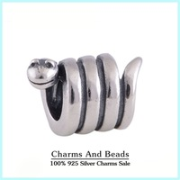 925 Sterling Silver Twist Snake Charm Thread Beads Fits Pandora Style Charm Bracelets & Bangles