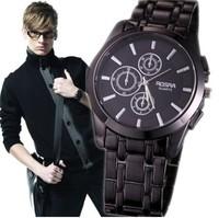 2014 New Brand Fashion Hour Black Wrist Brand Quartz Watch Full Stainless Steel Men Watches Atmos Clock Men,men Wristwatches