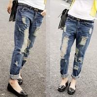 2015 Jeans Top Cross-pants Full Length Mid Quality Jeans New Fashion Denim Loose Woman Plus Size Boyfriend for Women 25-34 C32