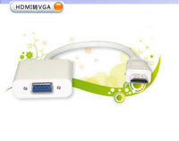 White HDMI to VGA converter cable  high-definition interface standard analog VGA adapter  the adapter supports 1080P HD