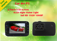 "Free shipping New Arrival HD 1080P Car DVR Camera P3 2.7"" LCD + Full HD 1080P 10FPS + H.264+ Motion Detect"