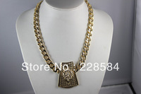HOT Fashion Enamel Lion Head Pendant Gold Chunky Chain Chunky Lion Head Necklace For Women Free shipping ,Wholesale