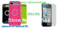 For iPhone4G Ring Stand iGlow Luminous Bracket Silicon Anti-Dirt and Water Protect Case + Screen Film  Free shipping