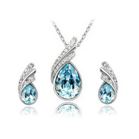 (Min order $10 mix) gold plated austrian women crystal feather necklace+earrings fashion Jewelry Sets
