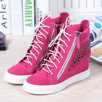 2013 Hot Sale Women GZ Zipper Lace up Height Increasing Shoes Rivet Genuine Leather Original Logo Big Size Wedge Sneaker For Men