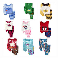 Freeshipping 2013 Boys Girls Long Sleeve Pyjamas Baby Toddler Kids Sleepwear pjs Superman Dora Spider man ect. design 1 - 7 yrs