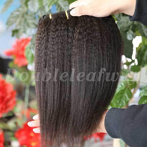 2pcs/lot double drawn grade italy coarse yaki striaght brazilian virgin human hair weft extension(China (Mainland))