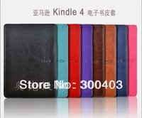 For Amazon kindle 4/5 New Protective slim PU leather Cover case pouch shell skin with clip,7 colors Drop free shipping 1pcs