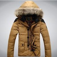 2014 winter fur collar men's brand duck down jacket men's sport jacket outerwear, military coat,winter coat,down coat for men