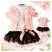 2014 Spring New Style Baby Girls Clothing Sets Infant Girl's Floral Coat +Lace T-shirt +Baby Skirt 3PCS Set